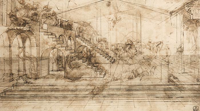 Eine Skizze Von Leonardo Da Vinci Die Architektur In Der Zentralperspektive Zeigt Verschiedene Personen Und Reiter Sind Andeutungsweise Gezeichnet